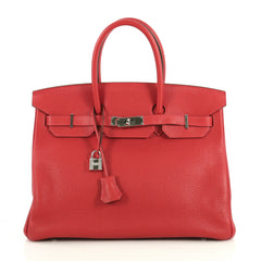 Hermes Birkin Handbag Red Clemence with Palladium Hardware 35 Red 4372714