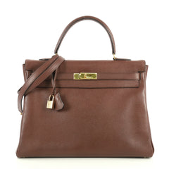 Hermes Kelly Handbag Brown Courchevel with Gold Hardware 35 Brown 4372717