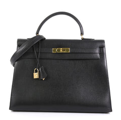 Hermes Kelly Handbag Black Ardennes with Gold Hardware 35 Black 4372718
