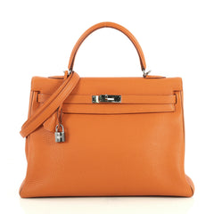 Hermes Kelly Handbag Bicolor Togo with Palladium Hardware 35 Orange 4372719