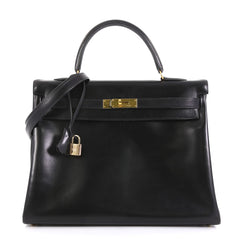 Hermes Kelly Handbag Black Box Calf with Gold Hardware 35 Black 4372720