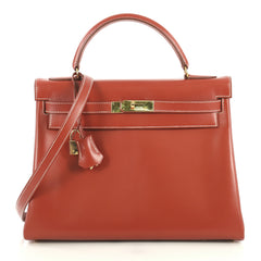 Hermes Kelly Handbag Red Chamonix with Gold Hardware 32 Brown 4372722