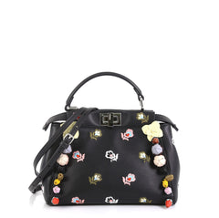 Fendi Peekaboo Bag Embroidered Leather with Floral Applique Mini Black 4372731