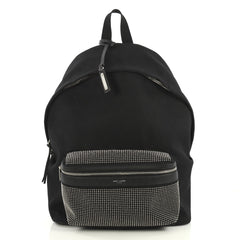 Saint Laurent City Backpack Studded Canvas Medium Black 4372736