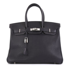 Hermes Birkin Handbag Blue Togo with Palladium Hardware 35 Blue 437273