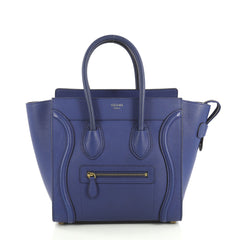 Celine Luggage Handbag Grainy Leather Micro Blue 437352