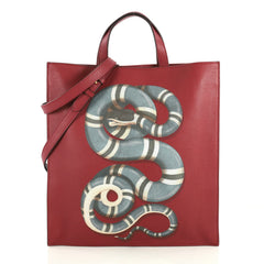 Gucci Convertible Soft Open Tote Printed Leather Tall Red 437471