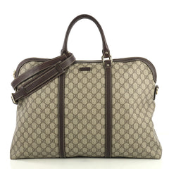 Gucci Plus Convertible Briefcase GG Coated Canvas XL Brown 437562