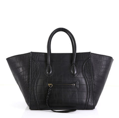 Celine Phantom Bag Crocodile Embossed Leather Medium Black 43761101