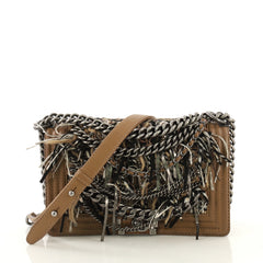 Chanel Paris-Dallas Boy Flap Bag Enchained Fringe with Quilted Calfskin Old Medium Brown 43761107