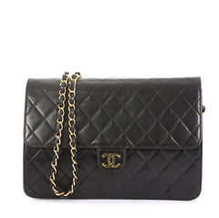Chanel Vintage Clutch with Chain Quilted Leather Medium Black 43761110