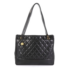 Chanel Vintage Shopping Tote Quilted Lambskin Medium Black 43761119