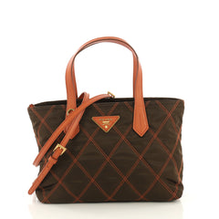 Prada Impunto Convertible Tote Quilted Tessuto Small Orange 4376111