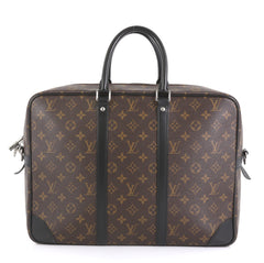 Louis Vuitton Porte-Documents Voyage Briefcase Macassar Monogram Canvas GM Brown 43761123