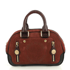 Louis Vuitton Havane Stamped Trunk Bowler Bag Suede PM Red 43761124