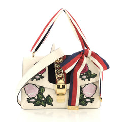 Gucci Sylvie Shoulder Bag Embroidered Leather Small White 43761149