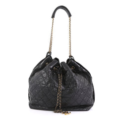 Chanel Paris-Bombay Drawstring Bucket Bag Quilted Calfskin with Stingray Trim