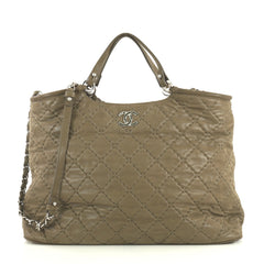 Chanel CC Sea Hit Tote Quilted Iridescent Calfskin Large Neutral 43761175