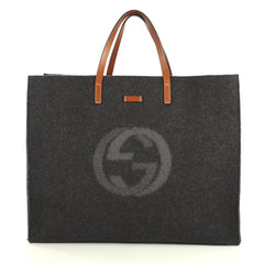 Gucci Logo Shopping Tote Felt Large Gray 43761177