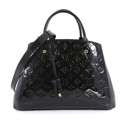 Louis Vuitton Montaigne Handbag Monogram Vernis MM Black 43761180