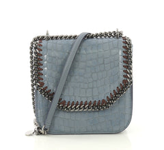 Stella McCartney Falabella Box Shoulder Bag Crocodile Embossed Faux Leeather Small Blue 4376128