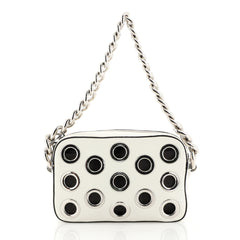 Prada Grommet Chain Shoulder Bag Vitello Daino Small White 4376129
