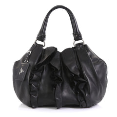 Prada Ruffle Shoulder Bag Nappa Leather Medium Black 437613