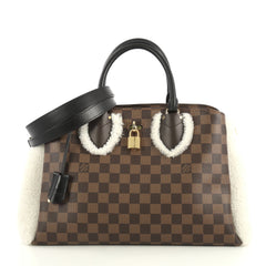 Louis Vuitton Normandy Handbag Damier with Shearling White 4376154