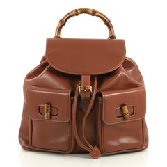 Gucci Vintage Bamboo Backpack Leather Medium Brown 4376158