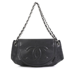 Chanel Timeless Half Moon Flap Bag Caviar Large Black 4376190