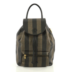 Fendi Pequin Front Pocket Backpack Coated Canvas Medium Black 4376193