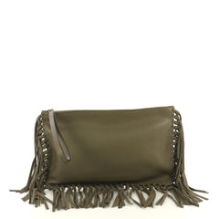 Valentino C Rockee Fringe Clutch Leather Medium Green 437671