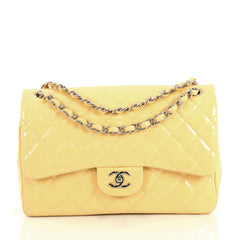 Chanel Classic Double Flap Bag Quilted Patent Jumbo Yellow 437721