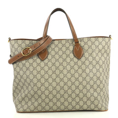 Gucci Convertible Soft Tote GG Coated Canvas Medium Brown 4378812