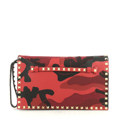Valentino Rockstud Flap Clutch Camo Leather and Canvas Black 4378815