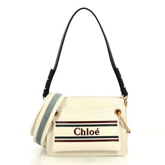 Chloe Roy Logo Shoulder Bag Printed Leather Small White 437906