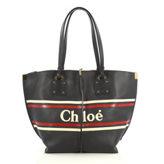 Chloe Vick Logo Tote Printed Leather Medium Blue 437909