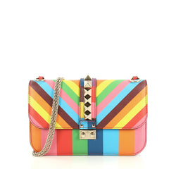 Valentino 1973 Glam Lock Shoulder Bag Striped Leather Medium Multicolor 4379210