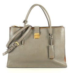 Miu Miu Madras Convertible Compartment Top Handle Bag Leather Large Gray 437924