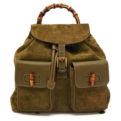 Gucci Bamboo Backpack Suede Medium