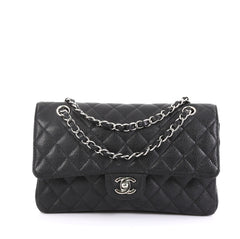Chanel Classic Double Flap Bag Quilted Caviar Medium Black 4382701