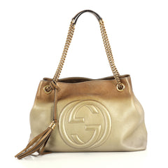 Gucci Soho Chain Strap Shoulder Bag Leather Medium Metallic 4382829