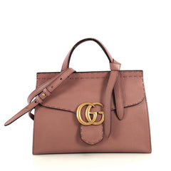 Gucci GG Marmont Top Handle Bag Leather Small Neutral 4382831