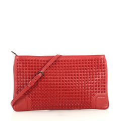 Christian Louboutin Loubiposh Clutch Spiked Leather Red 438289
