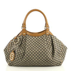 Gucci Sukey Tote Diamante Coated Canvas Medium Brown 4383015