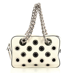 Prada Grommet Chain Shoulder Bag Vitello Daino Medium White 4383018