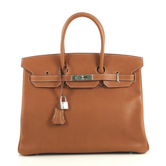 Hermes Birkin Handbag Brown Barenia Faubourg with Palladium Hardware 35 4383030