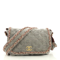 Chanel Parisian Stroll Messenger Bag Quilted Velvet Wool Medium