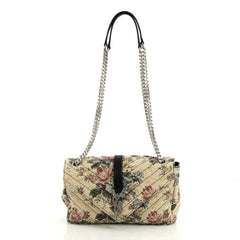 Saint Laurent Classic Monogram Envelope Satchel Tapestry Medium Neutral 4383711