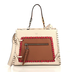 Fendi Runaway Handbag Whipstitch Leather Small White 438375